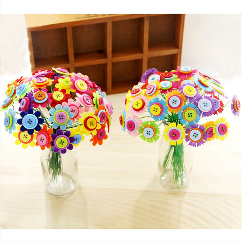 New 40pcs/set Creative DIY Button Bouquet Painting ...