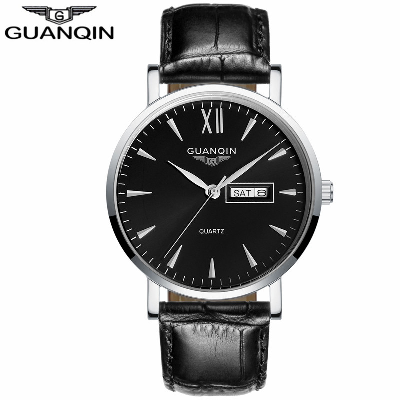 ФОТО GUANQIN GS19033 2017 Brand Men Watches Business Quartz 30M Waterproof Watches Men'S Leather Band Auto Date Wristwatches