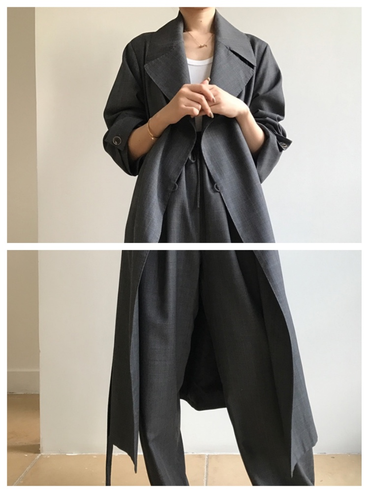 new arrivals simple long   trench   coat wide leg pants set women