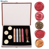 Mogoko 2018 Brand New Vintage Sealing Stamp With Seal Wax Sticks Set Wax Seal Sealing Stamps