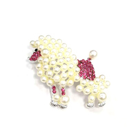 50/100pcs/lot free shipping 60mm cute pearl pink poodle dog animal Jewelry ornament shining Rhinestone Pin Brooches