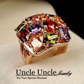 Fancy Design!! Rose Gold Plated Sparkly Multicolour AAA Zirconia Inlaid Trendsetter Finger Ring Wholesale