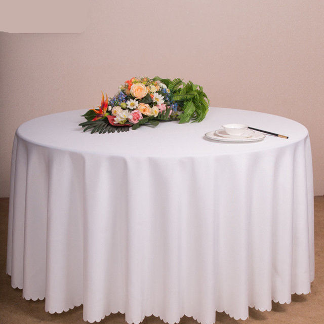 Merveilleux Big Size Polyester White Round Table Cloth Wedding Tablecloth Party Table  Cover Dining Table Linen Rectangular