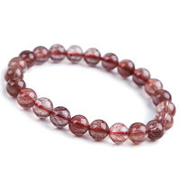 free shipping Natural Brazil Red Hair Rutilated Quartz Crystal Beads Bracelet 7mm AAA