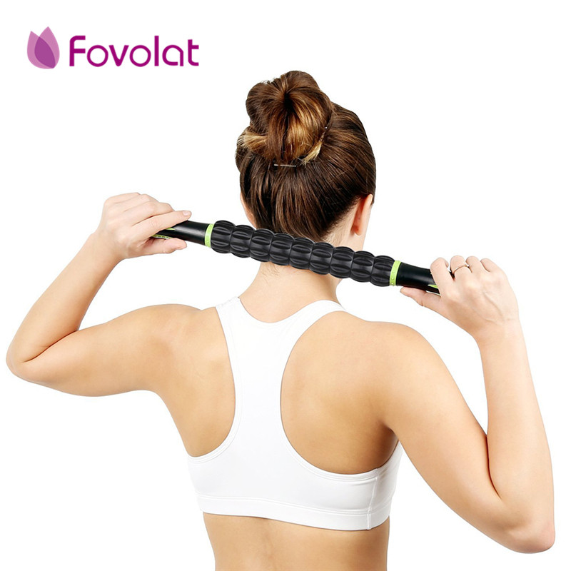 Pro Useful Sports Gym Massager Yoga Roller Stick Trigger Point Body Muscle Massage Relax Rods Crossfit Fitness Recovery Tool peanut shaped ball massager roller dual connecting balls muscle relax massage gym sport full body bar sport yoga fitness tool