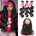 Pre Plucked Frontal 360 Lace Frontal Closure With Bundles Indian Body Wave With Closure,360 Lace Frontal With Bundle Human Hair