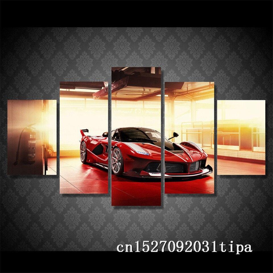 Spor Araba Ferrari 5 Panel Soyut Duvar Sanati Yagliboya Posteri