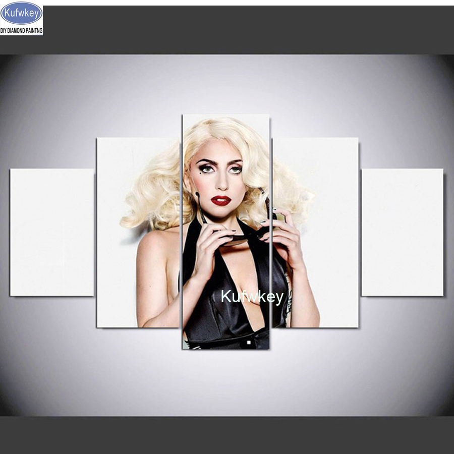 Lady Gaga photo,wall Painting,Full square Diamond Painting Cross Stitch,5D Diamond Mosaic Embroidery Home Decoration gift 5pcs