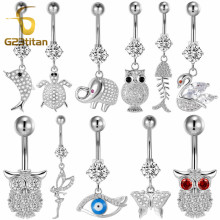 G23titan 11 Style Animal Belly Button Rings 14G Surgical Titanium Barbell Silver Crystal Navel Piercing Jewelry Pirsing Ombligo