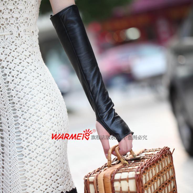 Haut En Peau de Mouton longue en cuir mitaines gants D'hiver Gant Avec Véritable En Cuir Luva de couro 1 Paire/lot