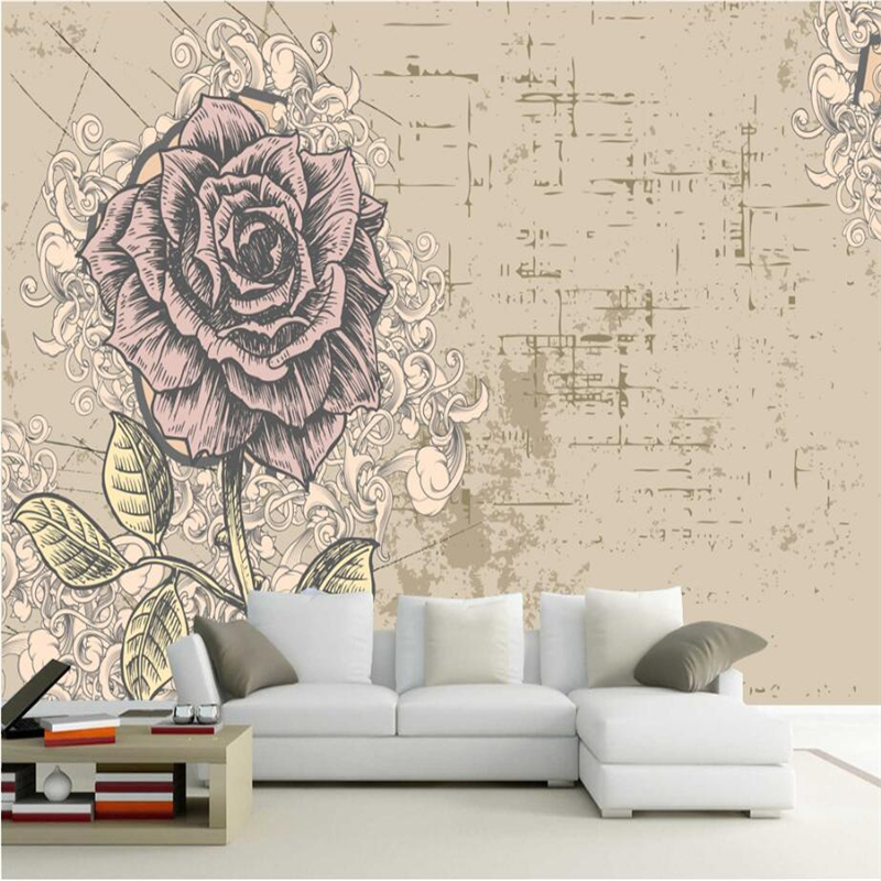 Vintage Wallpaper Custom Fashion Hand Painted 3d Flower Wallpaper Embossed TV Background Study Kitchen Wall Mural Wallpaper custom photo wallpaper hand painted japanese cuisine sushi wooden background wallpaper restaurant kitchen custom mural