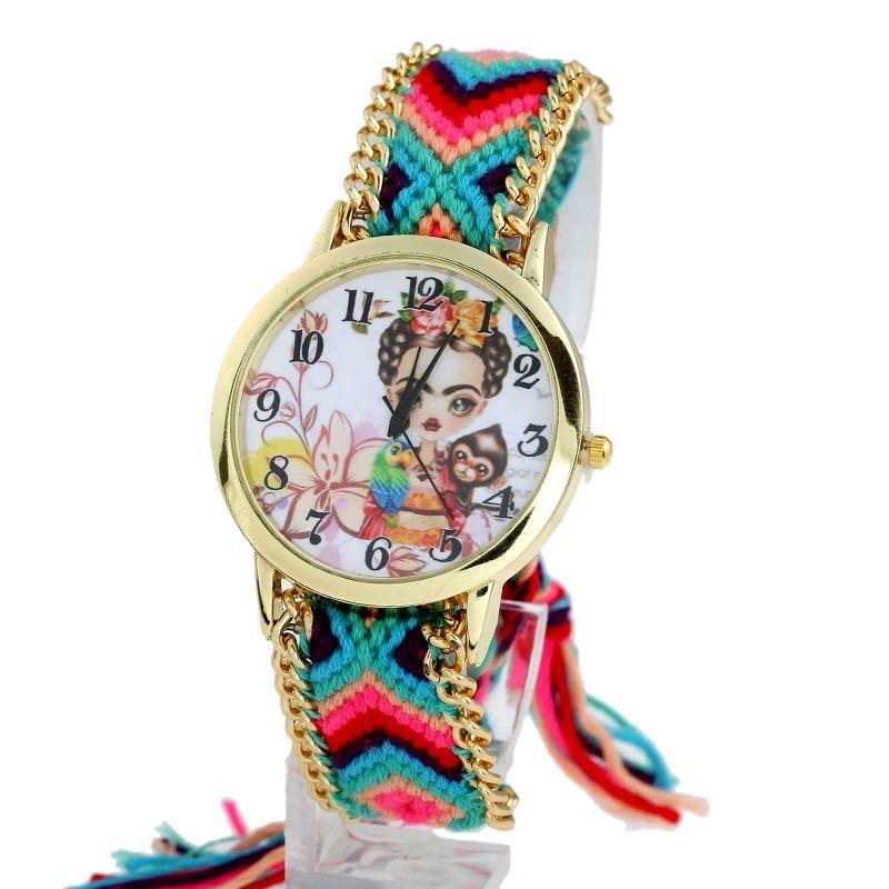 Gnova platinum Watch Women Frida Parrot monkey Roses Fashion wristwatch Lace Gold Chain Braid Reloj ethnic gnova platinum genuine leather silvered owl bracelet watch women bronze dial reloj indian ethnic girl fashion wristwatch relogio