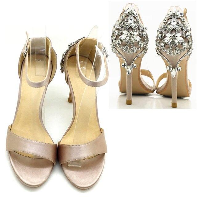 Jiabaisi shoes women sandal Satin Luxury Diamonds heels 4Inch Stiletto Dazzling Crysta Party Large Size Classics heels Hot sale
