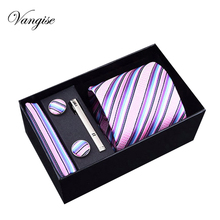 Vangise Novelty Men Ties Sets Hanky Cufflink& Clips Gift Box Stripes Paisley Dots Neckties Set Gravata Cortabata for men