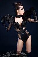 Nightclub nightclub female singer DJ guests DS shrug black feathers tight bodysuit stage costume party celebration birthday