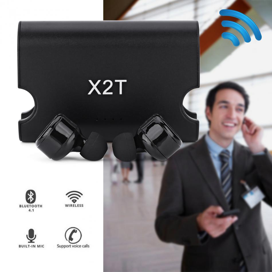 X2T Wireless Stereo Bluetooth Earphones Mircophone Headset With 1500mah Charging Dock For iPhone Android Phone Earbuds wireless bluetooth headset two mini earphone together separate use stereo earbuds with charging dock for iphone android phone