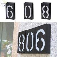 솔라 하우스 번호 Doorplate 디지털 라이트 6 LED 도어 플레이트 주소 자리 벽 램프 마운트 베란다 솔라 라이트