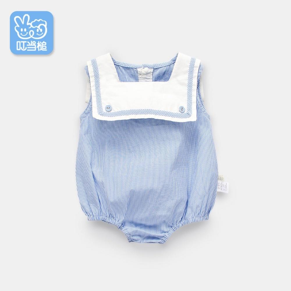 Dinstry Stripe Baby Romper Summer Newborn Baby Girl British wind Jumpsuit baby girl romper 0-12M Infant Children Clothes