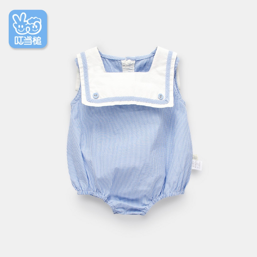 Dinstry Stripe Baby   Romper   Summer Newborn Baby Girl British wind Jumpsuit baby girl   romper   0-12M