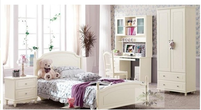 Shanghai Solid Wood Furniture Pine Green Wood White Paint Korean Princess  Bed Childrenu0027s Bedroom Beds