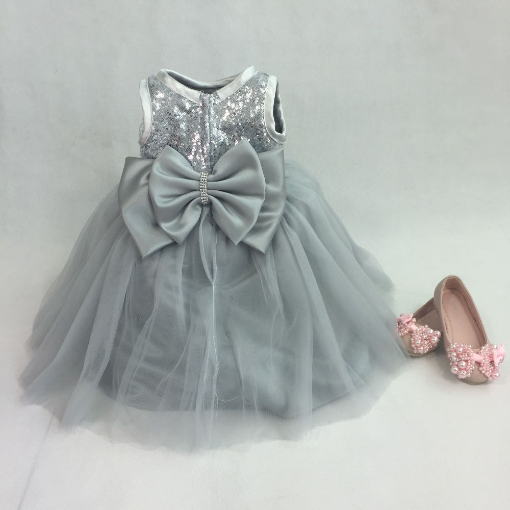 72f8f42ef 2017 Silver Sequins Sleeveless Princess Baby Girls Dresses Kids ...
