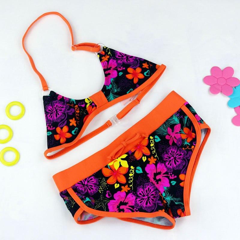 Lány fürdőruhák aranyos virág minta Split bikini fürdőruha rajzfilm bikini biquini infantil menina két darab baba fürdőruhák