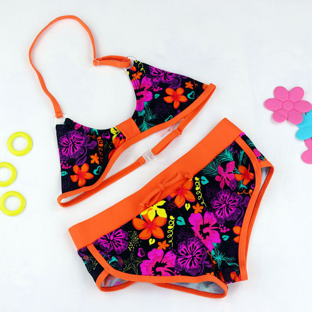 4e3cddb9fb Girl Swimsuits Cute Flower Pattern Split Bikini Swimwear Cartoon Bikini  Biquini Infantil Menina Two Pieces Baby Bathing Suits