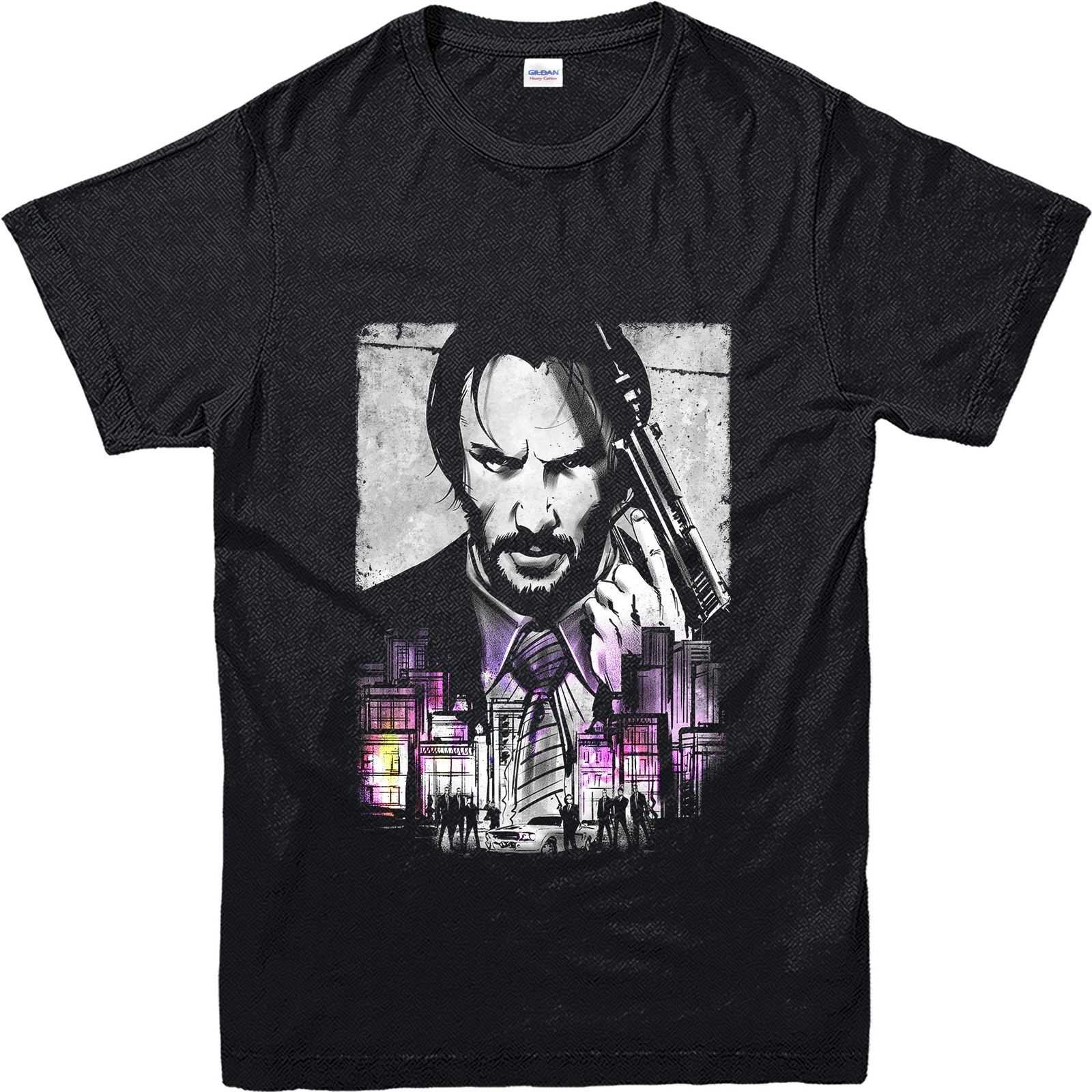Men's Fashion T-Shirt John Wick Keanu Reeves City Poster T-Shirt Men Cotton T Shirt Funny Shirts