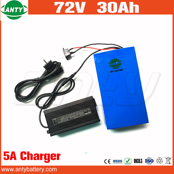 High Quality Electric Bike Battery 72v 30Ah Super Power 1500w Lithium ion Battery 72v with 84v 5A Charger Free Shipping and Duty