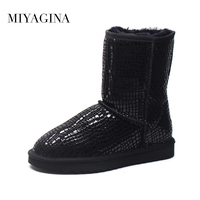 High Quality Genuine Leather Real Fur 100 Wool Women Winter Snow Boots New Brand Boots Free