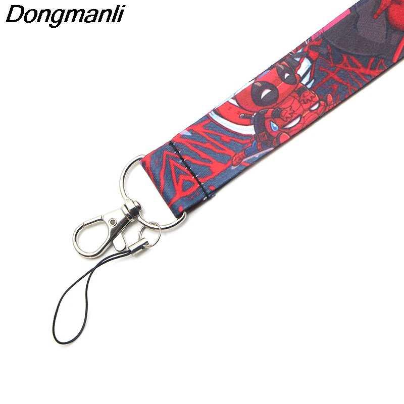 P3715 Dongmanli Deadpool Móc Khóa Dây Buộc ID Huy Hiệu Giá Đỡ CHỨNG MINH THƯ Đi Tập Gym Điện Thoại Di Động USB Huy Hiệu Chìa khóa
