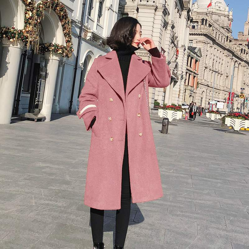 Chaud Blue black Qualité red Pr527 Coréen Nouvelle D'hiver Moyen Tempérament Haute Femmes Survêtement Slim Color oatmeal 2019 camrl lotus Laine Manteau Longues De Mode Veste OwqUSRZ