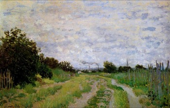 High quality Oil painting Canvas Reproductions Lane in the Vineyards at Argenteuil   By Claude Monet hand painted