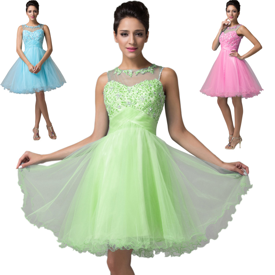 Aliexpress.com : Buy Sleeveless Backless Short Puffy Prom Dresses ...