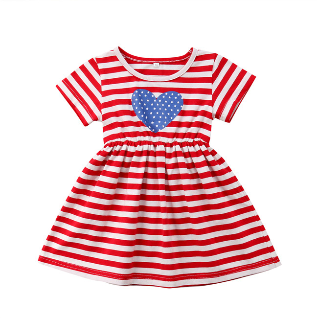Newborn Kids Children Baby Girl Dress Short Sleeve A-line Formal Striped Short Sleeve 4th July Cotton Dresses Clothing Outfits