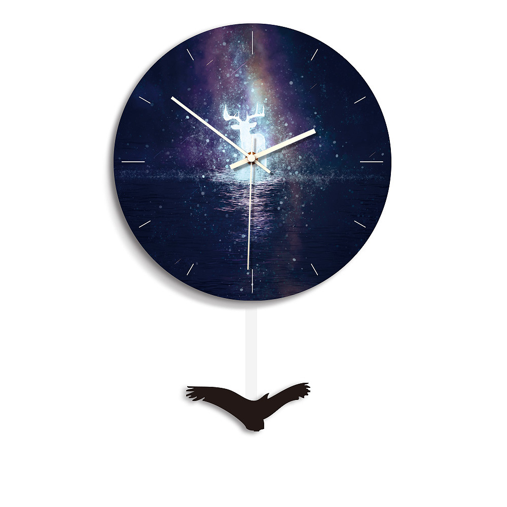 28 Cm Maan Patroon Opknoping Wandklok Slaapkamer Swing Alarm Wandklok Koffie Thuis Woonkamer Kantoor Muur Horloge Decor Hot Duidelijk Effect