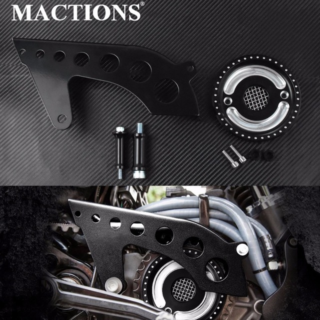 MACTIONS Asterism Pulley Cover With Mesh Countershaft Front Pulley Guard Drive Cover For Harley Sportster XL 48 883 1200 04-18