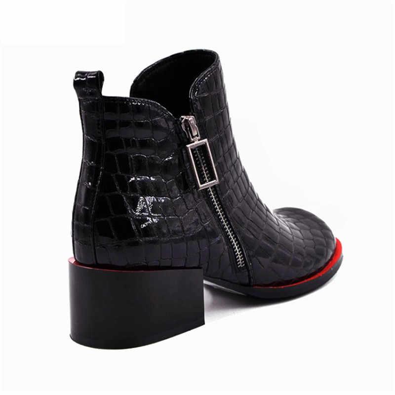 2019 Şık Bayan Botları Hakiki Deri Ayak Bileği Ayakkabı Kadın Kış Kare Ayak Blok Topuklar Timsah Baskı Çizmeler Kadın Botas Mujer