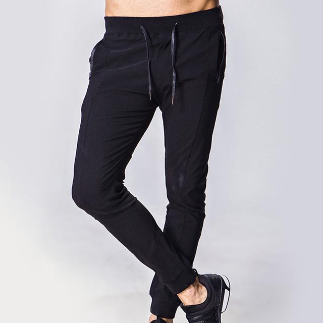 2017 nuevos Mens Pantalones Casuales Hombres pantalones de Chándal Flacos Masculinos Pantalones de Chándal de Entrenamiento de Fitness Negro