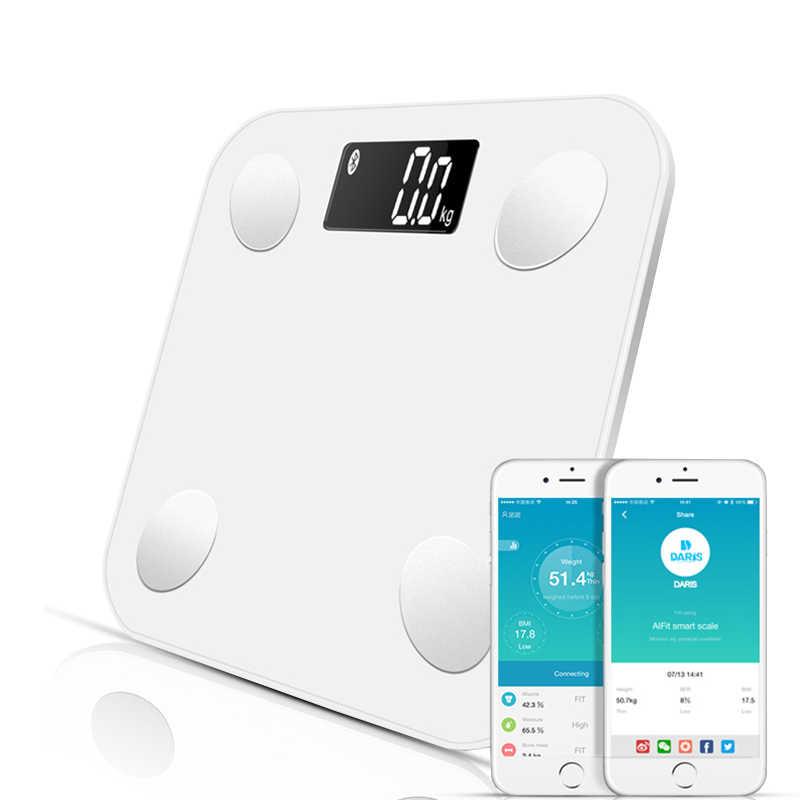 Smart Tubuh Lemak Bluetooth Kamar Mandi Digital Timbangan Lantai dengan Tipe Tubuh Mengukur Berat Badan Kesehatan Keseimbangan Air Lemak Massa Otot Bmi