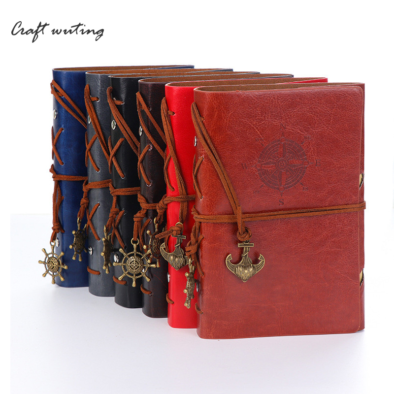 craft Leather TNotebook Journal Diary Notepad planners Vintage Pirate PU a6 Note Book Replaceable Stationery Gift Traveler spiral notebook newest diary book vintage pirate anchors pu leather note book gift traveler journal 14 5 10 5 2 5 cm 2 color