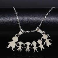 Edelstahl Mädchen Jungen Halskette Frauen Mama Kinder Neckless Schmuck Zubehör Silber Farbe Familie Halsketten Jewerly N7191