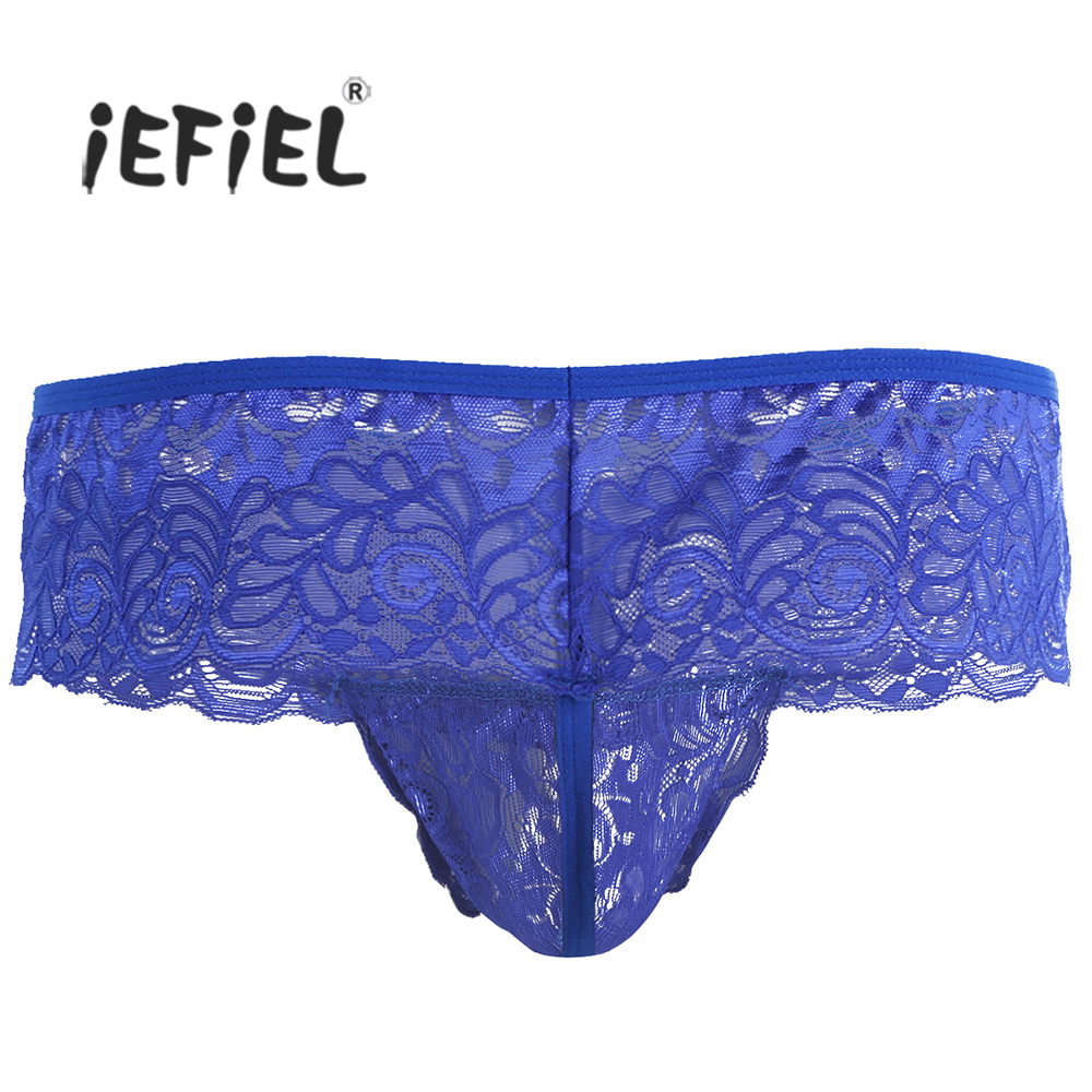 Buy iEFiEL Men Lingerie Open Butt Pouch G-string Sexy Gay Men's Panties Jockstraps Wetlook Crotchless Bikini Slip Hommes Underwear