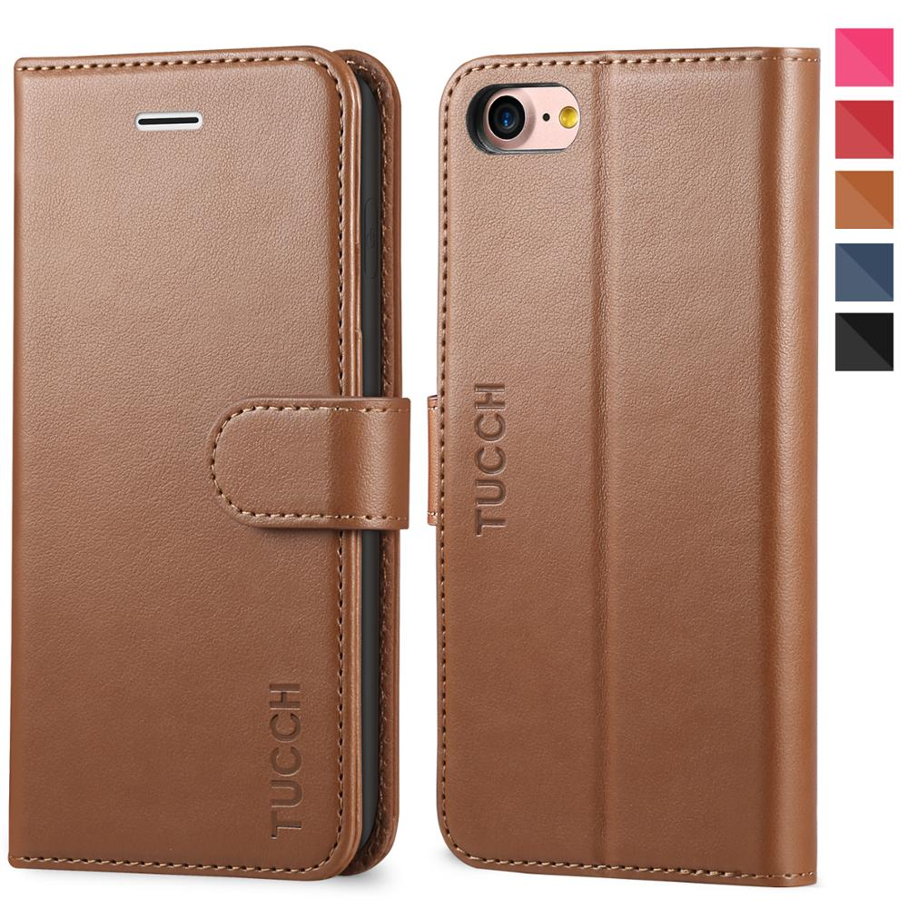 TUCCH iPhone 7 / 8 Wallet Case, Card Slots, Kickstand, Book Design, Magnetic Closure [TPU Interior Case] Protective Case