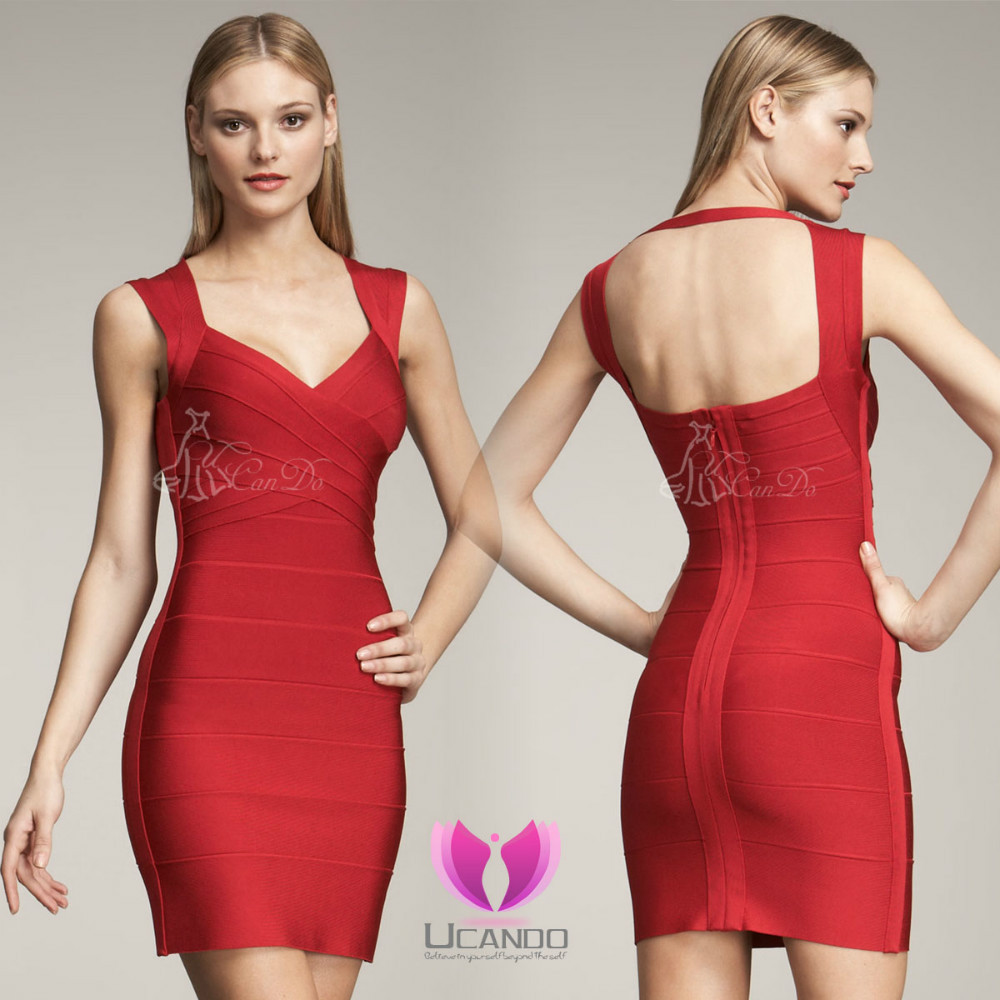 493858f4172ba Womenred open back Bandage Dress in Evening Dresses