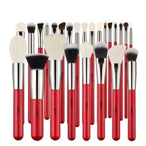 Image 3 - Set de brochas de maquillaje profesionales BEILI Red, brocha de maquillaje Natural para cabello, base, colorete, mezcla de ojos, delineador para cejas, herramienta de brocha de maquillaje