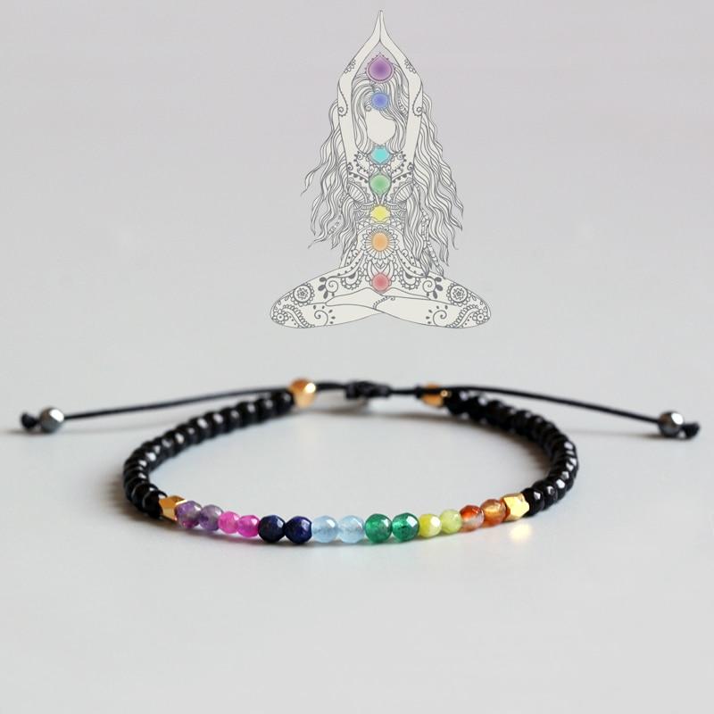 Eastisan 7 Colori Braccialetto di Cristallo Naturale Yoga Sette Chakra Guarigione Balance Bracciale Per Le Donne Preghiera Reiki Pietre 3mm Sottile