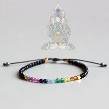 Eastisan 7 цветов браслет натуральный кристалл Йога семь чакр Исцеление баланс для женщин рейки чётки мм 3 мм тонкий