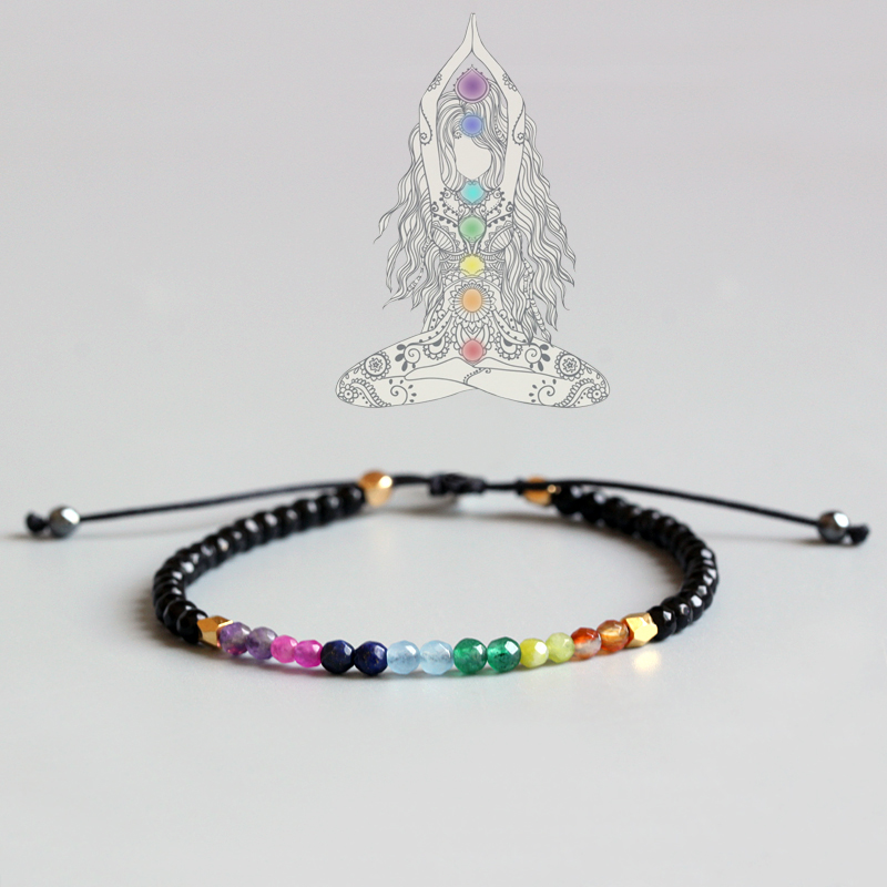 Eastisan 7 Colors Bracelet Natural Crystal Yoga Seven Chakras Healing Balance Bracelet For Women Reiki Prayer Stones 3mm Thin