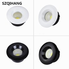 Dimmable 3W 5W Round COB Mini Spot Recessed Down Lamp White shell Black Led Ceiling Light t AC110V AC220V